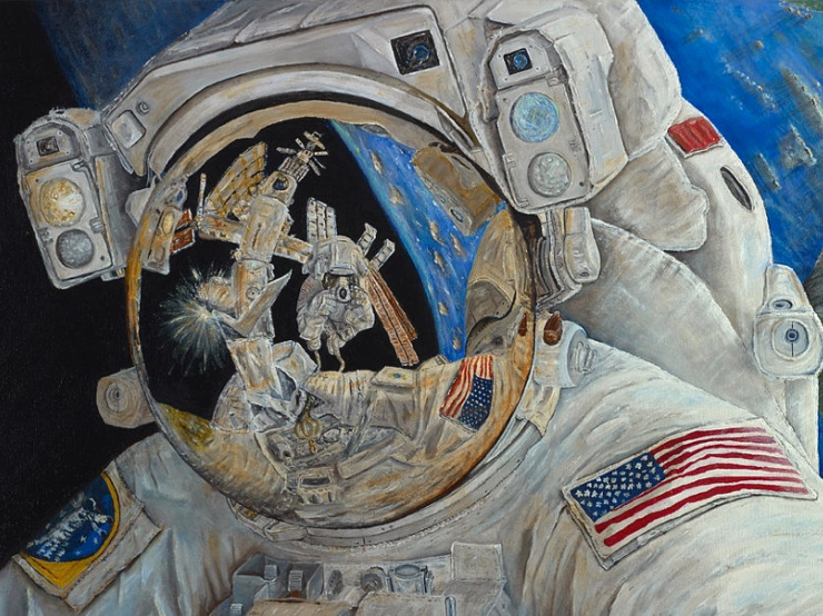Astronaut painting in space