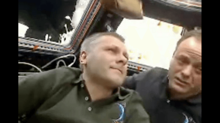 Ron Garan with Space Station Commander Andrey Borisenko
